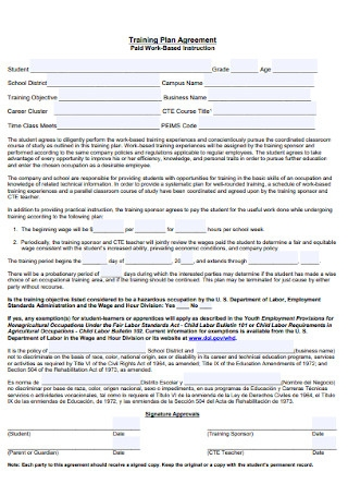 Training Plan Agreement