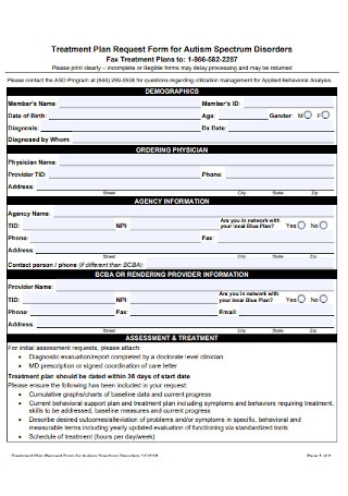 Treatment Plan Request Form