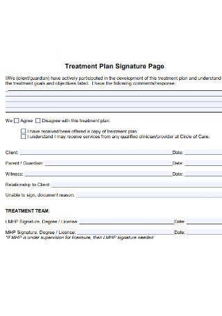 Treatment Plan Signature Page Template
