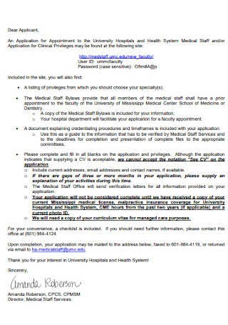 University Hospitals Appointment Letter