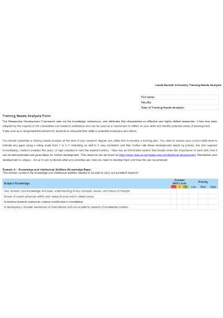 University Training Needs Analysis