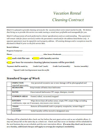 Vacation Rental Cleaning Contract