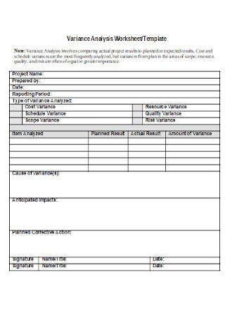 Variance Analysis Worksheet Template