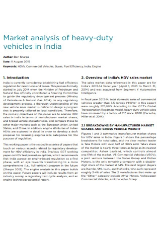 Vehicles Market Analysis Tewmplate