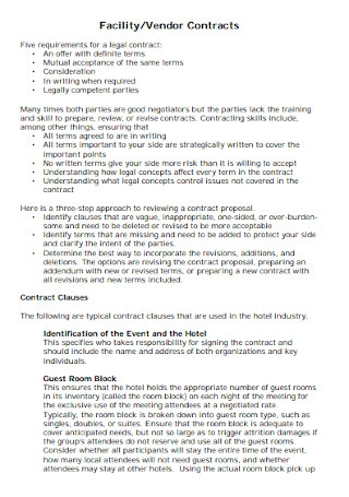 Vendor Facility Contract Template