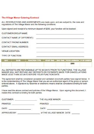 Village Manor Catering Contract