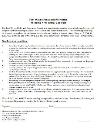 Wedding Area Rental Contract