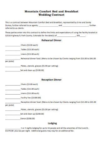 Wedding Breakfast Contract