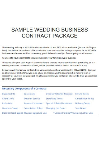 Wedding Business Contract Template