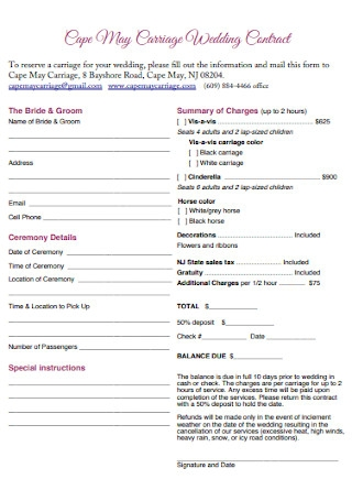 Wedding Carriage Contract Template