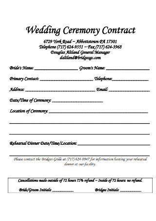 Wedding Ceremony Contract