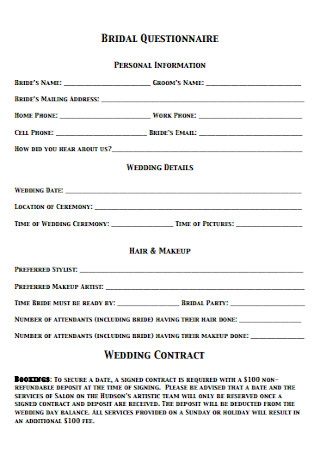 Wedding Contract Questionnaire