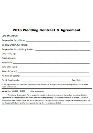 Wedding Contract and Agreement Template