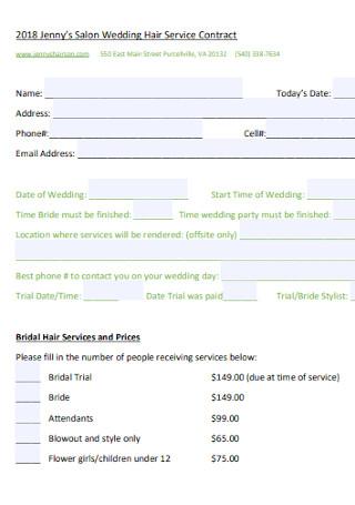 Wedding Hair Service Contract