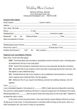 Wedding Music Contract