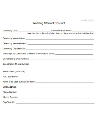 Wedding Officiant Contract Template