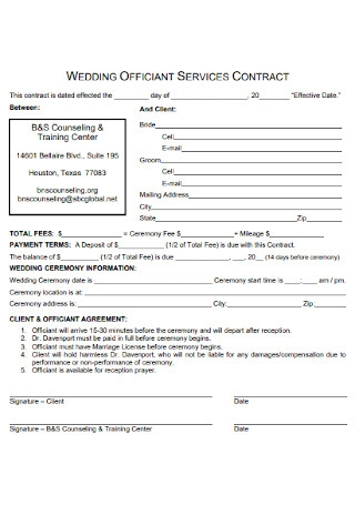 Wedding Officiant Services Contract