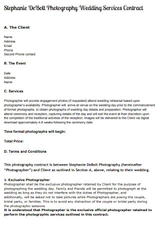 Wedding Services Contract
