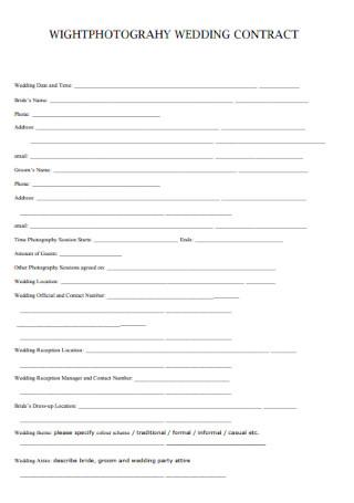 Wedding Wightphotography Contract
