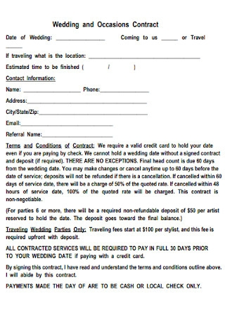 Wedding and Occasions Contract