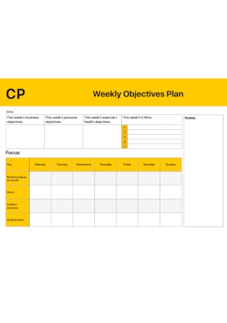 Weekly Objectives Plan