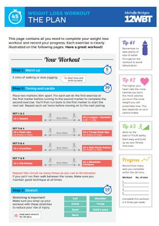 Weight Loss Workout Plan Template