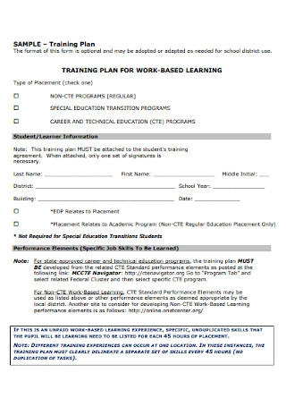 Work Based Trainiong Plan