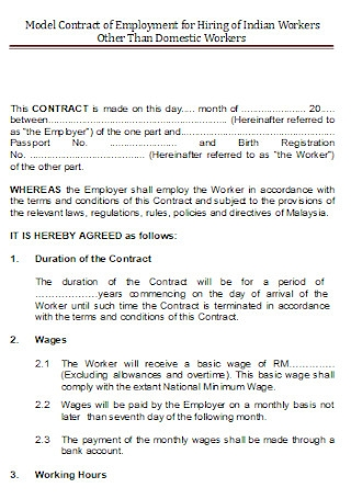 Work Employment Contract
