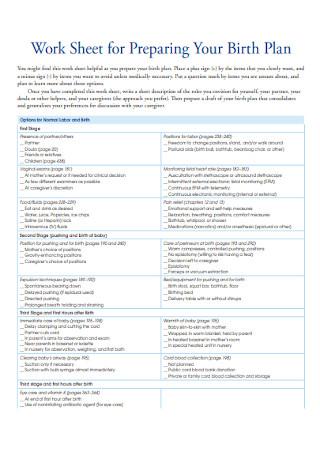 Work Sheet for Birth Plan