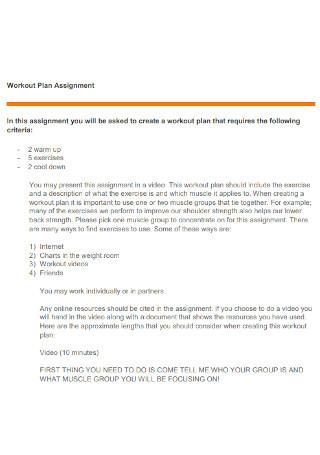Workout Assignment Plan