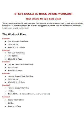Workout Details Plan Template