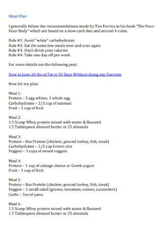 Workout Meal Plan