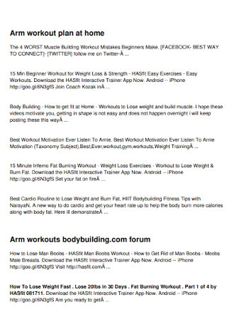 Workout Plan at Home Template