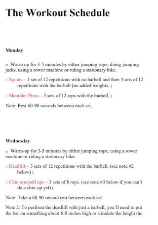 Workout Schedule Plan