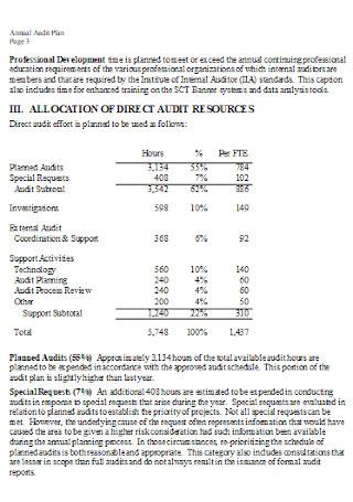 Year Annual Audit Plan