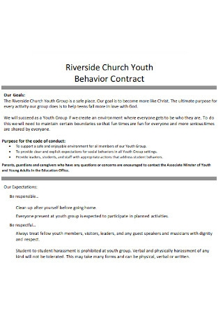 Youth Behavior Contract Template