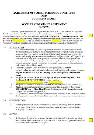 Accelerator Grant Agreement