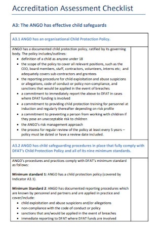 Accreditation Assessment Checklist
