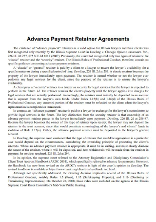 Advance Payment Retainer Agreements