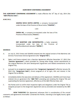 Agreement Confirming Assignment