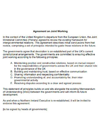 Agreement on Joint Working
