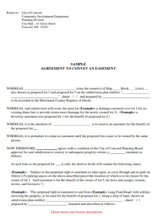 Agreement to Convey an Easement