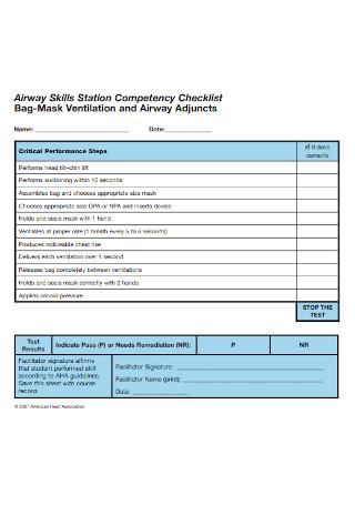 Airway Skills Competency Checklist