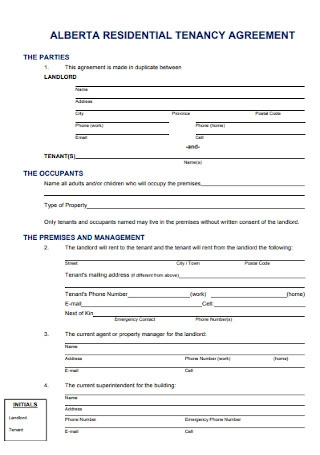 Alberta Residential Agreement Template