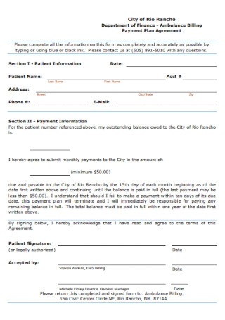 Ambulance Billing Payment Plan Agreement