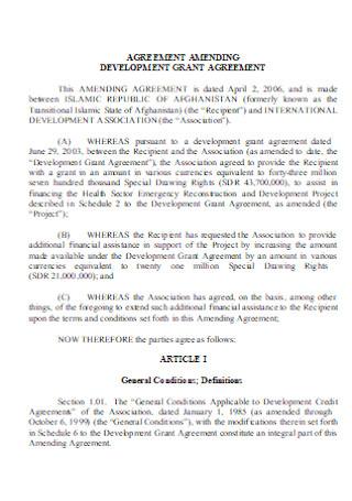 Amending Development Grant Agreements