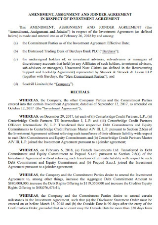Amendment to the Investment Agreement