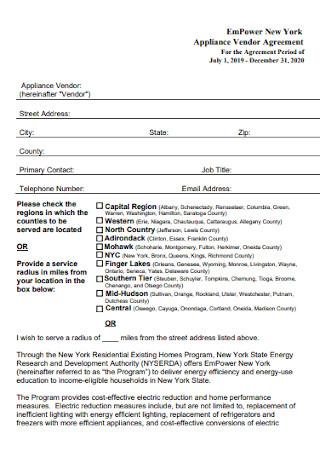 Appliance Vendor Agreement