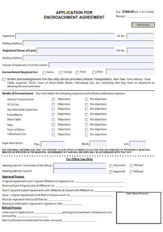 Application for Encroachment Agreement