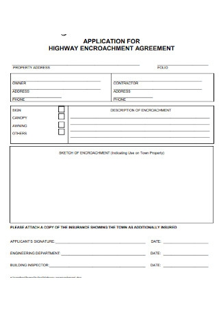 Application for Highway Encroachment Agreement